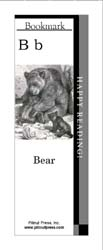 This bookmark depicts the letter B and a mother bear with her cubs.