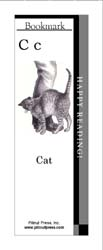 This bookmark depicts the letter C and a cat.
