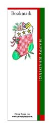 This bookmark depicts a Christmas stocking filled with goodies.