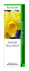 This bookmark depicts a King Alfred Daffodil.