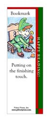 This bookmark depicts Santa's elf putting on a finishing touch of paint.