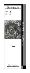 This bookmark depicts the letter F and three foxes.
