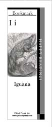 This bookmark depicts the letter I and an Iguana.