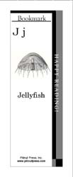 This bookmark depicts the letter J and a jellyfish.