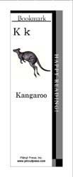 This bookmark depicts the letter K and a Kangaroo.