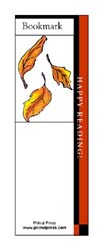 This bookmark depicts falling autmn leaves.