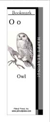 This bookmark depicts the letter O and an owl.