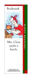 This bookmark depicts Mrs. Claus packing a lunch for Santa.