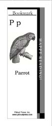 This bookmark depicts the letter P and a parrot.
