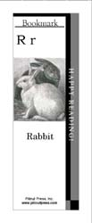 This bookmark depicts the letter R and two rabbits.