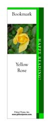 This bookmark depicts a Yellow Rose.