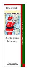 This bookmark depicts Santa planning his Christmas delivery route.