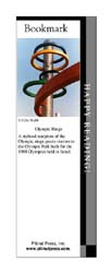 This bookmark depicts a sculpture of the Olympic Rings in Seoul, South Korea.
