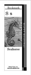 This bookmark depicts the letter S and a Seahorse.