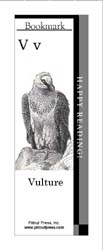 This bookmark depicts the letter V and a Vulture.
