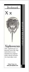 This bookmark depicts the letter X and a Xiphosuran.