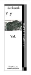This bookmark depicts the letter Y and a Yak.