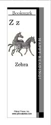 This bookmark depicts the letter Z and two Zebras.