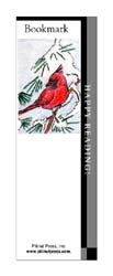 This bookmark depicts a cardinal.