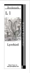 This bookmark depicts the letter L and a lyrebird.
